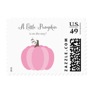 Litte Pumpkin Fall Baby Shower Stamps, Girl Postage