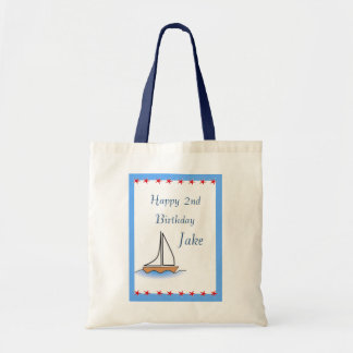 Litte Sailboat Nautical Birthday Tote Bags