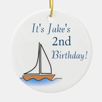Litte Sailboat Nautical Birthday Ceramic Ornament