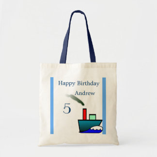 Litte Ship Nautical Birthday Canvas Bags