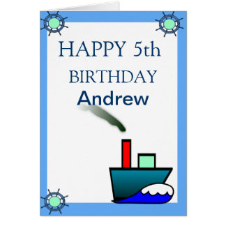 Litte Ship Nautical Birthday Card