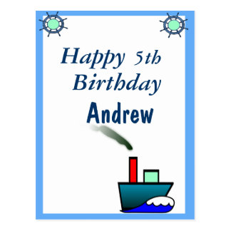 Litte Ship Nautical Birthday Postcard