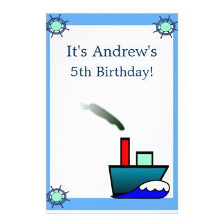 Litte Ship Nautical Birthday Customized Stationery