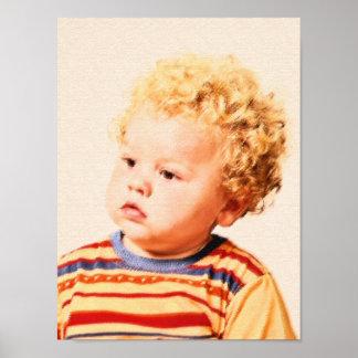 littel boy with curls poster