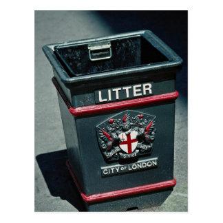 Litter bin to put rubbish post card