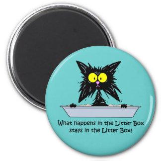 Litterbox Cat 2 Inch Round Magnet