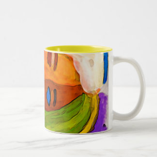 little abstract  woman in colors Two-Tone coffee mug