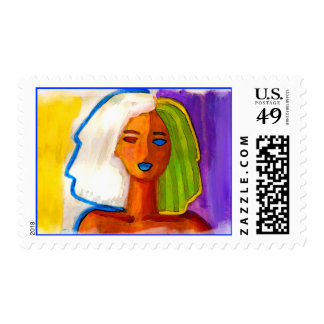 little abstract  woman in colors postage