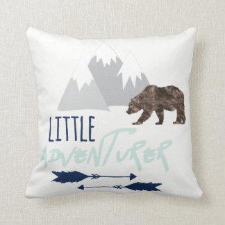 Little Adventurer in Navy Grey and Aqua Mist Throw Pillow