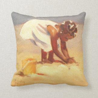 Little African Girl on Beach Throw Pillow