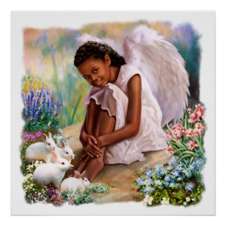 Little Afro Angel with Bunnies Painting Posters