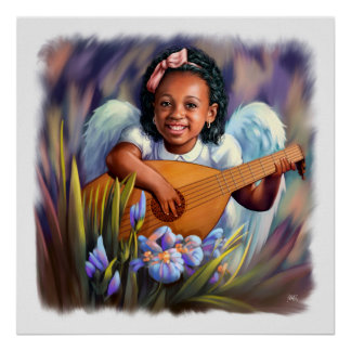 Little Afro Angel with Lute Painting Art Print