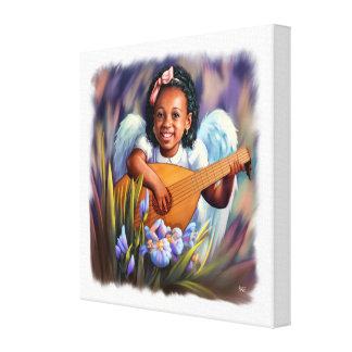 Little Afro Angel with Lute Painting Canvas Print