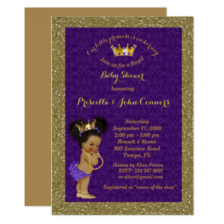 Little Afro Princess Baby Shower Invitation,purple Card