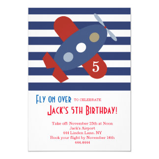 Little Airplane Birthday Party Invitation