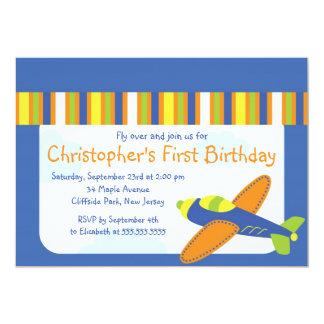 "Little Airplane Pilot Birthday Party Invitations 5"" X 7"" Invitation Card"