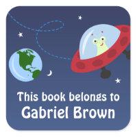 Little alien in space cartoon bookplate stickers sticker