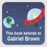 Little alien in space cartoon bookplate stickers