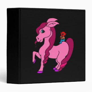 little alien on pink pony binder