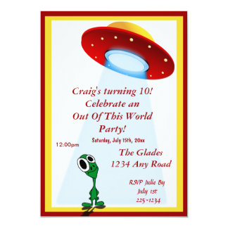 Little Alien Out Of This World Birthday Personalized Invites