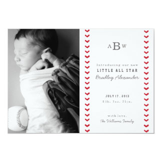 "Little All Star Birth Announcement 5"" X 7"" Invitation Card"