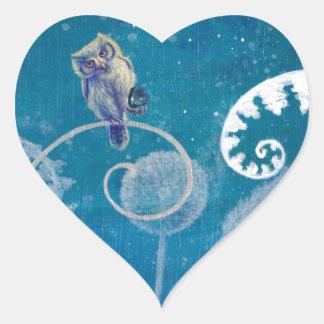 Little Amethyst Owl Heart Sticker
