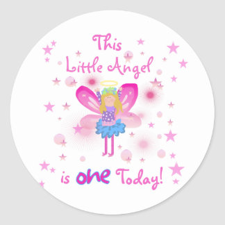 Little Angel 1st Birthday Tshirts and Gifts Classic Round Sticker