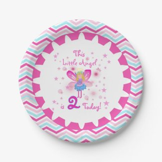 Little Angel 2nd Birthday Paper Plates 7 Inch Paper Plate