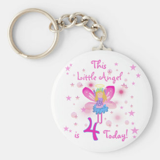Little Angel 4th Birthday T-shirts and Gifts Basic Round Button Keychain