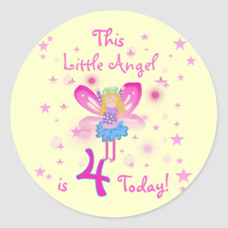 Little Angel 4th Birthday T-shirts and Gifts Classic Round Sticker