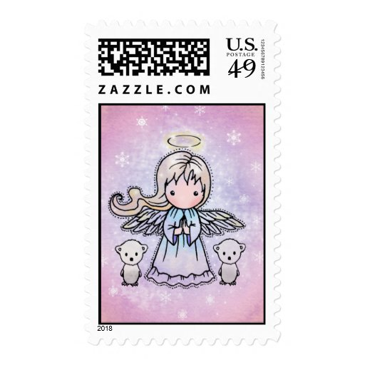 Little Angel and Polar Bears Holiday Postage Stamp