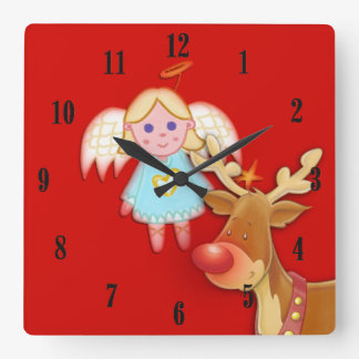 Little Angel and Rudolph Christmas Red Wall Clock