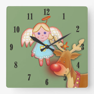 Little Angel and Rudolph Christmas Wall Clock