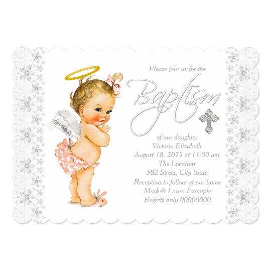 little angel baby girl baptism invitation zazzle com