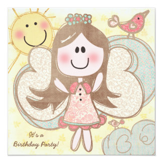 "Little Angel Customized Birthday Invitations 5.25"" Square Invitation Card"