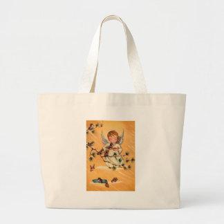 Little Angel Feeding Birds Large Tote Bag