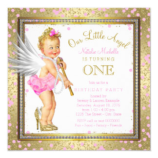 Little Angel Girls 1st Birthday Party Card
