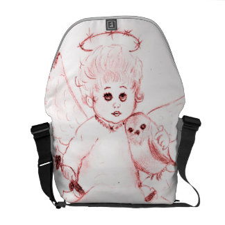 Little Angel in Bright Red Messenger Bag