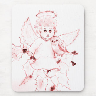 Little Angel in Bright Red Mouse Pad