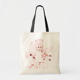Little Angel in Bright Red Tote Bag