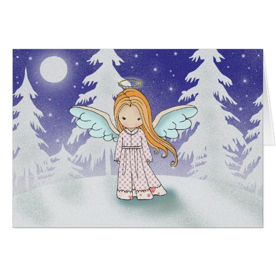 Little Angel in the Moonlight Christmas Card