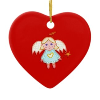 Little Angel on Red Christmas Tree Ornament