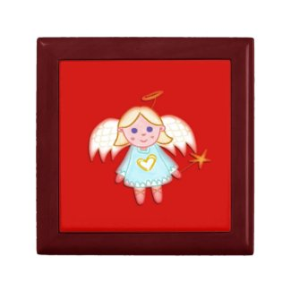 Little Angel on Red Jewelry Box