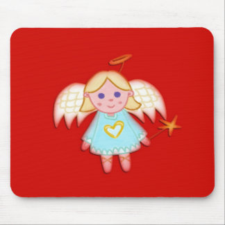 Little Angel on Red Mouse Pad