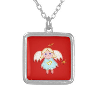 Little Angel on Red Silver Plated Necklace