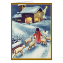 Little Angel Sheep Herder Custom Greetings Card