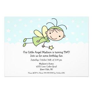 Little Angel Stick Figure Birthday Invitation