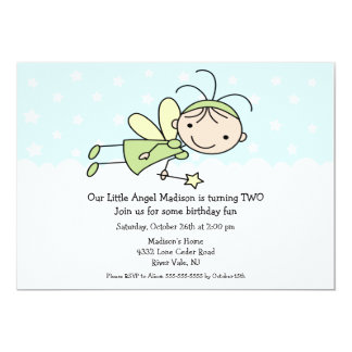 Little Angel Stick Figure Birthday Invitation