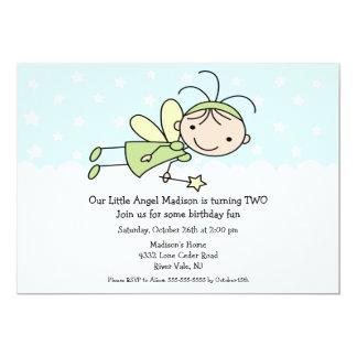 "Little Angel Stick Figure Birthday Invitation 5"" X 7"" Invitation Card"