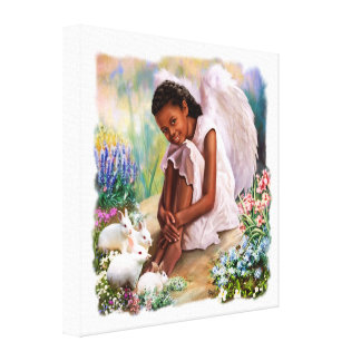 Little Angel with Bunnies Painting Canvas